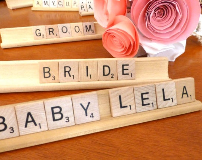 CUSTOM Scrabble name signs (with holders), Wedding Placecards, Party Placecards, Party Favor, Baby Shower Favor, Game, Desk Sign