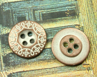 Metal Buttons - Carving Scrollwork Metal Buttons , Copper Patina Color , 4 Holes , 0.71 inch. 10 pcs