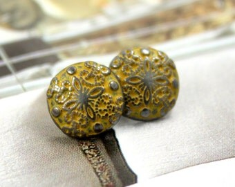 Metal Buttons - Damascene Carvings Metal Buttons , Gunmetal Orange Color , Shank , 0.39 inch , 10 pcs