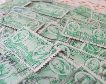 Money Earnin' Mount Vernon 50 Vintage US Postage Stamps 1936 1 c President George Washington Nathanael Greene Jade Green New York Philately
