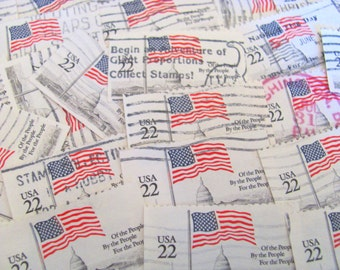 Flags Of Our Fathers 50 Vintage US Postage Stamps Red White and Blue American Flags Stars and Stripes 22-cent Flag over Capitol Philately