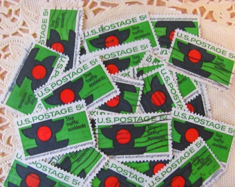 Don't Text and Drive 30 Vintage US Postage Stamps 5c Scott 1272 Stop Traffic Road Rage Red Green Black Signal Scrapbooking EphemeraPhilately