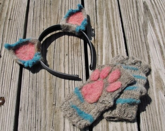 Cheshire Cat Costume Ears and Paws Set - Needle Felt Ear Headband - Knit Fingerless Gloves with Needle Felted Detail