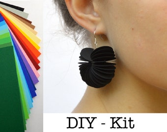 DIY Kit : Earrings made of colored cardstock Paper jewelry