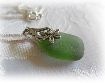 Olive Green Beach Glass Sterling Silver Necklace