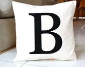 Monogram Pillow Cover 16 x 16 Initial Cushion Natural Beige and Black Decorative Pillow Modern Throw Pillow