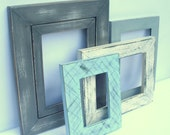 Wooden Frame Set - 4  frames painted in sky blue, antique white, slate, and dove grey - upcycled shabby cottage chic - rustic cabin