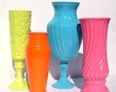 Vintage Glass Vases 4 painted lime green, turquoise blue, tangerine orange, bubblegum pink - upcycled shabby cottage chic flower bud modern
