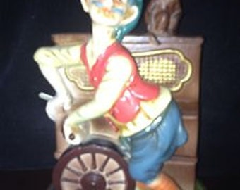 Vintage Monkey & Man ORGAN GRINDER Music Box Presumably Made in JAPAN Porcelain Bisque  Plays Santa Lucia