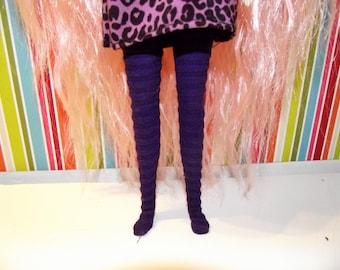 Dark purple ribbed tights leggins for Pullip doll