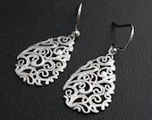 Silver Earrings TearDrop Paisley Earrings Dangle Everyday jewelry