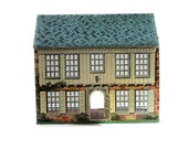 Vintage Tin Litho Dollhouse Bucks County PA Center Hall Colonial 1776 Locust Year - Playsteel