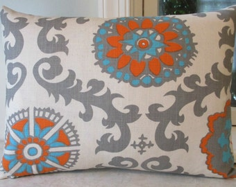SALE One 12 x 16 Lumbar  Pillow Cover Manderin Suzani