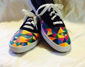Geometric Keds Vans Pattern Custom Keds or Vans Triangle Rainbow Multi Color Painted Keds Shoes