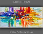 """Original Art huge Impasto Texture modern oil painting  Abstract Painting on gallery wrap linen canvas by Tim Lam 48""""  x 24"""""""