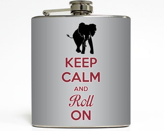 Keep Calm and Roll On Football Tailgating College Guys Birthday Alabama Groomsmen Gifts - Stainless Steel 6 oz Liquor Hip Flask LC-1178