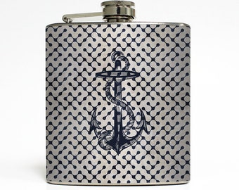 Retro Navy Nautical Anchor Flask Ocean Beach Wedding Vacation Sea Groomsmen Birthday Gift Stainless Steel 6 oz Liquor Hip Flask LC-1003