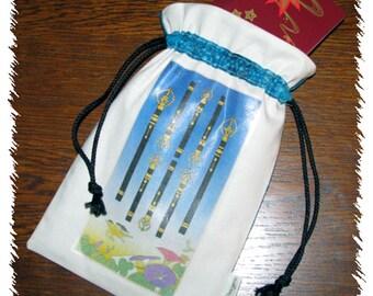 Tarot card pouch, draw string pouch, tarot cards, runes, pouch, cotton, celestial, astrology, Tarot cards, Ukiyoe deck