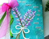 Dream Altered Art Journal Turquoise and Lavender using recycled book covers and with inspirational words and quotes