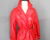Sale Mod Red Raincoat Full Length Trench