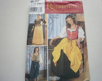 Pattern Ladies Costume Renaissance 3 Styles Sizes 4 to 10 Simplicity 5582