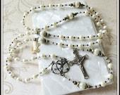 Girls Baptismal Rosary for Christening or Catholic Baptism in Cream Swarovski Pearls w/ Bronze Holy Spirit Center