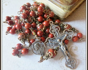Catholic Rosary, Unbreakable Rosary, Red Jasper Rosary, Wire Wrapped Rosary, Heirloom Rosary for Men, Hand Crafted Rosary, Bronze Rosary