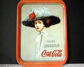 Vintage Coco-Cola Tray, Metal Tray with Victorian Woman, Printed in 1971, Decor