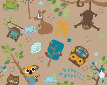 Hooty Hoot Returns Main Brown by Doohikey Designs for Riley Blake, 1/2 yard