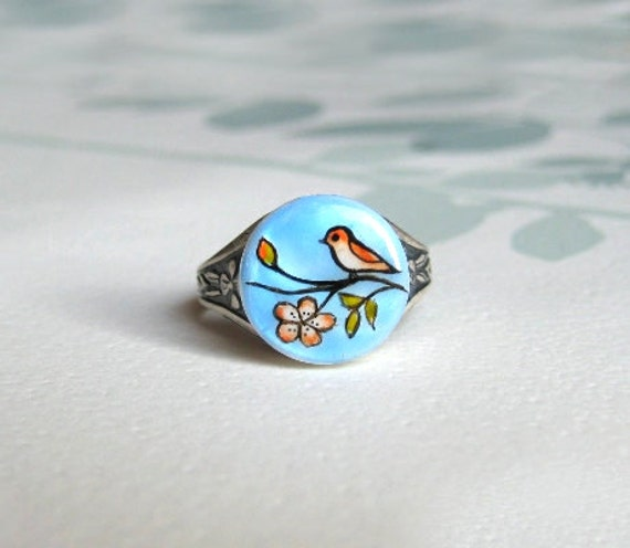 Little Bird and Flower handpainted adjustable ring, autumn jewelry, everyday jewelry, nature inspired jewelry