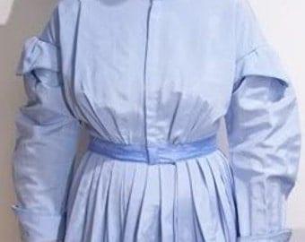 """SALE - Bust 40"""" Waist 30"""" Civil War Era Blue Day Dress - Was 135.00"""