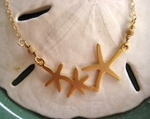 Starfish Trio Necklace in Matte Gold, Gold Starfish Necklace, Surfer Necklace,Beach Jewelry,  N348.2