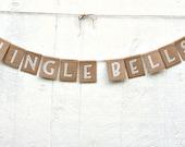 JINGLE BELLS Banner, Rustic Burlap Kraft Christmas Garland in Silver