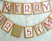 MERRY CHRISTMAS Garland Holiday Banner, Rustic Kraft Vintage Inspired - LazyCaterpillar