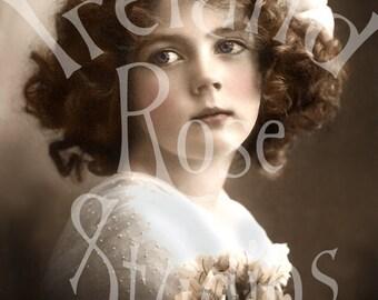 Finola-Little Girl-Vintage Postcard-Digital Image Download