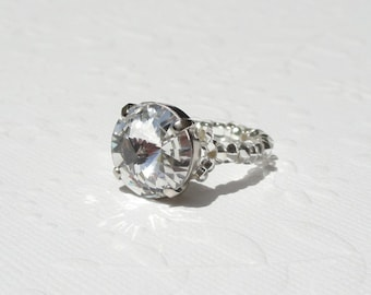 Swarovski Crystal Ring Clear Crystal, Stretchy Ring with Swarovski Crystal