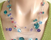 FOR SALE: ASHIRA Delicate Swarovski Crystal Floating Necklace - Teal, Indian Pink, Seaform Blue, Violet, Purple - AshiraJewelry