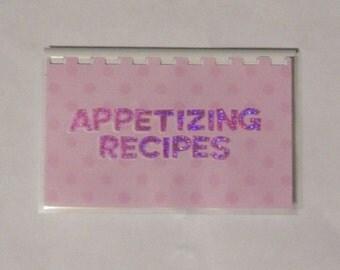 "Handmade ""Appetizing Recipes"" Blank Recipe book"