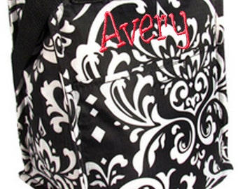 Personalized Insulated Lunch Tote Bag Black & White Damask Design