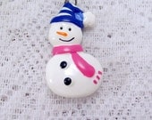 Vintage 1980's enamel resin snowman with hat and scarf pendant
