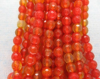 Beautiful Orange Red Agate Faceted Round Beads 6mm - 15 Inch Strand