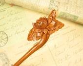 Exquisite Peach Wood Hair Stick - Lotus Flower