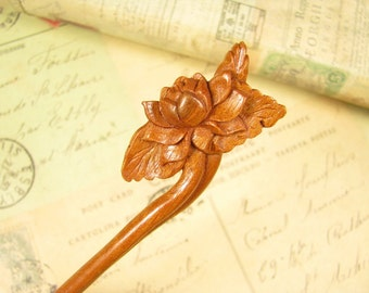 Exquisite Peach Wood Hair Stick - Lotus Flower