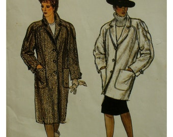 "Raglan Sleeve Coat Pattern, Straight, Patch Pockets, Notched Collar, Lined, Tabs, Jacket Vogue No. 8441 Size 12 (Bust 34"" 87cm)"
