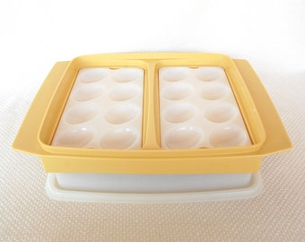 Vintage Tupperware Egg Tray in Groovy Harvest Gold Display Delicious Deviled Eggs and Good for Serving, Too
