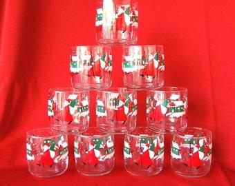 Set of 10 Vintage Christmas Folk Art Santa Glasses Old Fashioned or Rocks Size all marked 1988 AHC