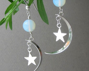 Sterling Silver Moon and Stars with Opalite Dangle Earrings