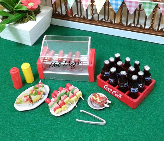 miniature party food set hotdog stand soda drinks by beadspage. Black Bedroom Furniture Sets. Home Design Ideas