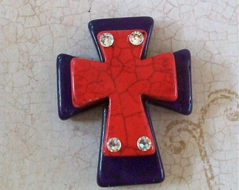 Large Stacked Purple Stone Cross with Red Stone Cross and Bling