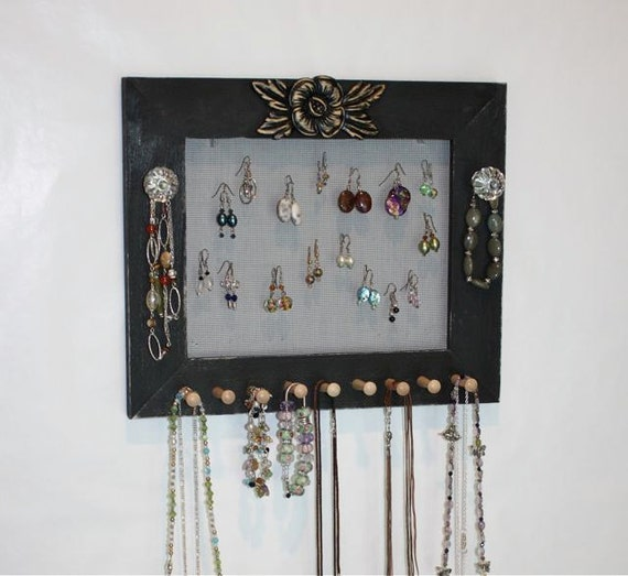 Black jewelry frame organizer earring holder wall by for Picture frame organization wall
